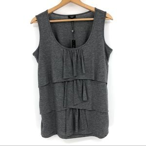 Talbots Tank Top Tiered Ruffle Front Gray Size 1X